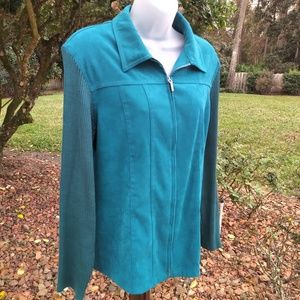 Notations Faux Suede Sweater Sleeve Zip Jacket XL